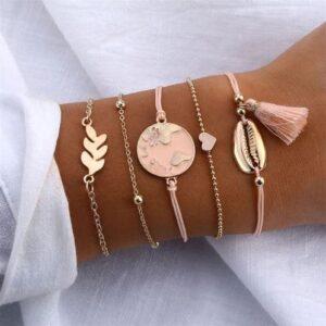 Roze & Gouden Armband set van 5 bij Laconic