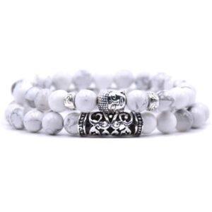 Buddha armbanden wit te koop bij Laconic